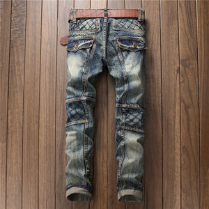 Cross Stitch Knee Patched Men Slim Jeans - FanFreakz