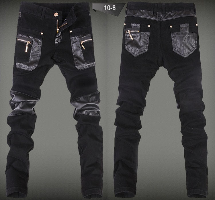 Casual Pockets Leather Patch Biker Style Men Pants