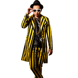 Yellow Black Stripes Men Long Suit Coat Male Fashion Slim Fit Blazers - FanFreakz