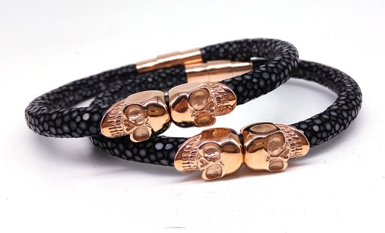 Twin Northskull Stingray Magnet Clasp Men Bracelet