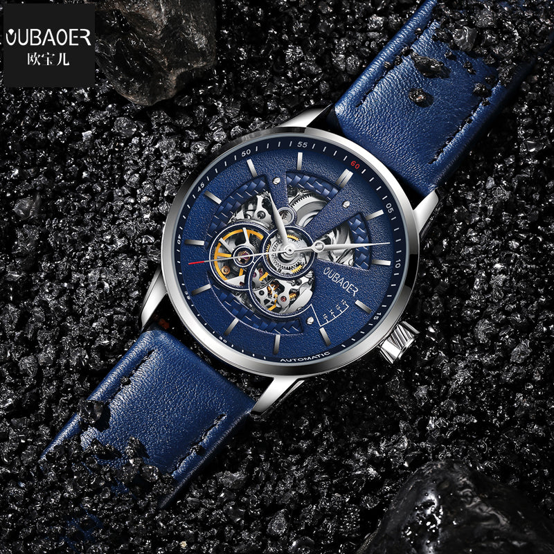 Simple Sport Style Semi Skeleton Men Automatic Watch with Leather Strap