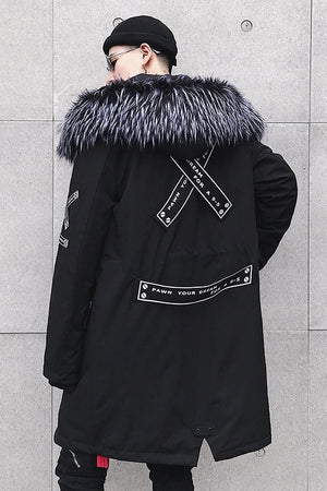 Fur Hood Street Style Men Parka Coat Jacket