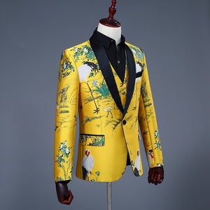 Classic Shawl Collar Men Yellow Blazer with Asian Art Print - FanFreakz