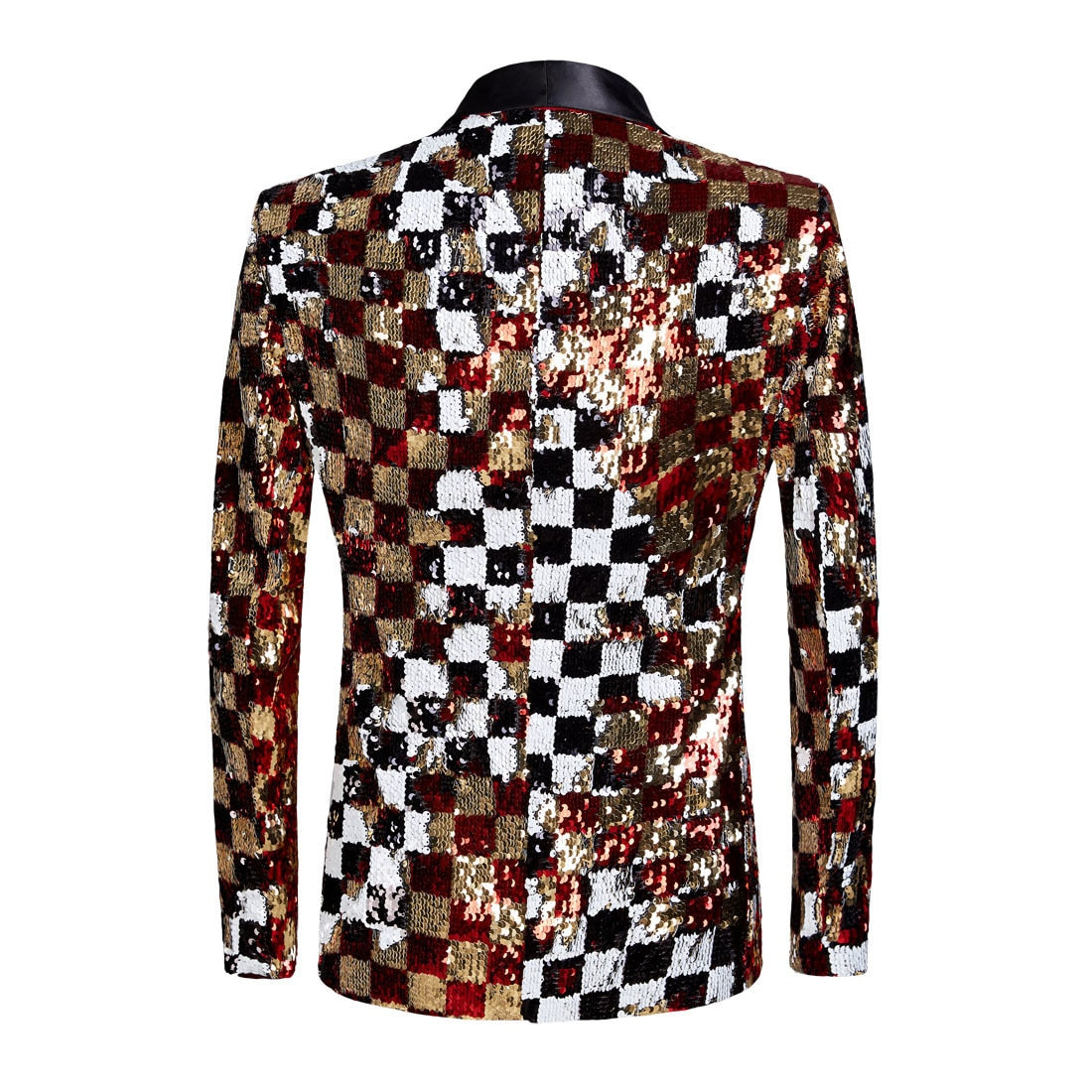 Sequin Plaid Quadruple Color DJ Stage Style Men  Blazer