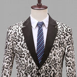 Jacquard Leopard Pattern Slim Fit Casual Men Blazer