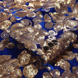 Electric Blue with Gold Sequins Shawl Lapel Men Velvet Slim Fit Blazer - FanFreakz