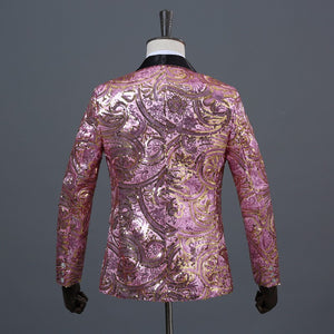 Floral Sequins Fancy Paillette Wedding Singer Stage Performance Blazer with Bow Tie - FanFreakz
