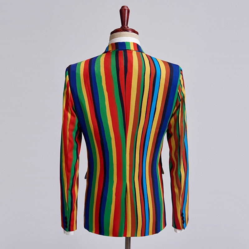 Bright Colourful Stripe Stage Style Men Costume Blazer - FanFreakz