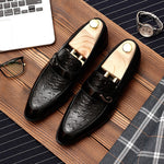 Brown Black Slip On Pointed Toe Leather Grain Casual Style Men Shoes