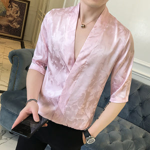Summer Jaquard Shinny Deep V Sexy Men Shirt - FanFreakz