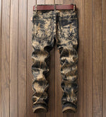 Abstract Wash Light Brown Pattern with Tiger Embroidery Detail Men Jeans - FanFreakz