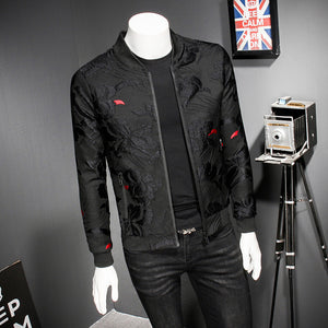 Puff Jacquard Black Men Slim Bomber Jacket