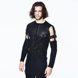Punk Gothic O Neck with Detachable Sleeves Men T-Shirt