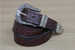 Vintage Carving Art Men Leather Belt