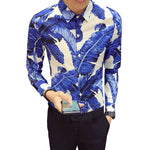Banana Leaves Print in Bold Color Men Slim Fit Long Sleeves Shirt - FanFreakz
