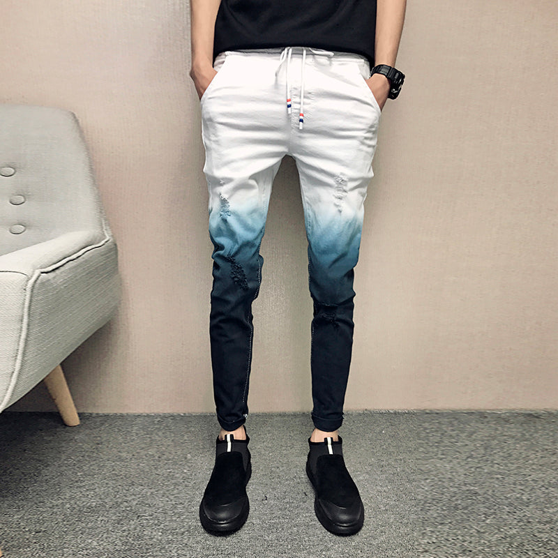another chance quality products sold worldwide Gradient Skinny Ripped Men Denim Jeans – FanFreakz