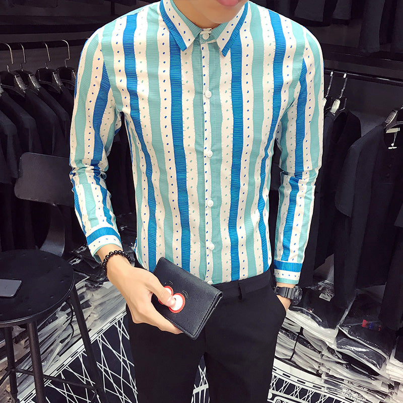 Three Color Stripes Men Semi Formal Slim Fit Shirt