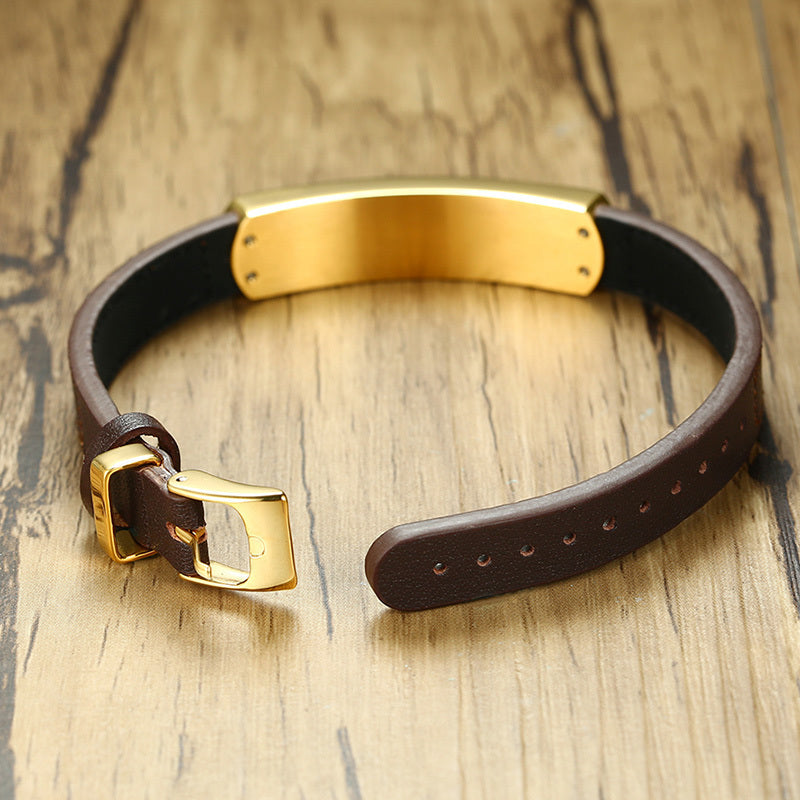 Trendy Exotic Wood Metal Tag Men Leather Bracelet