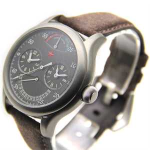 Retro Red Star Dual Time Zone Men Watches