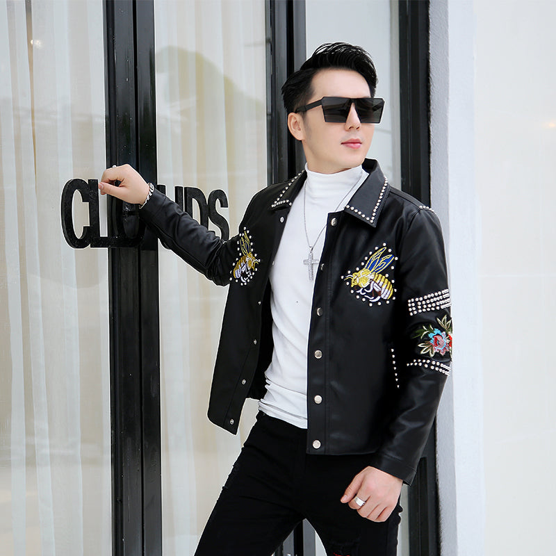 Black with Bee Decoration Rivet Punk Casual Men Faux Leather Jacket