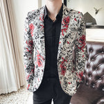 Rose in Contrast Print Men Slim Fit Velvet Blazer