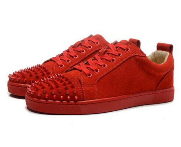 Suede Luxury Toe Spikes Lace Up Men Platform Sneakers