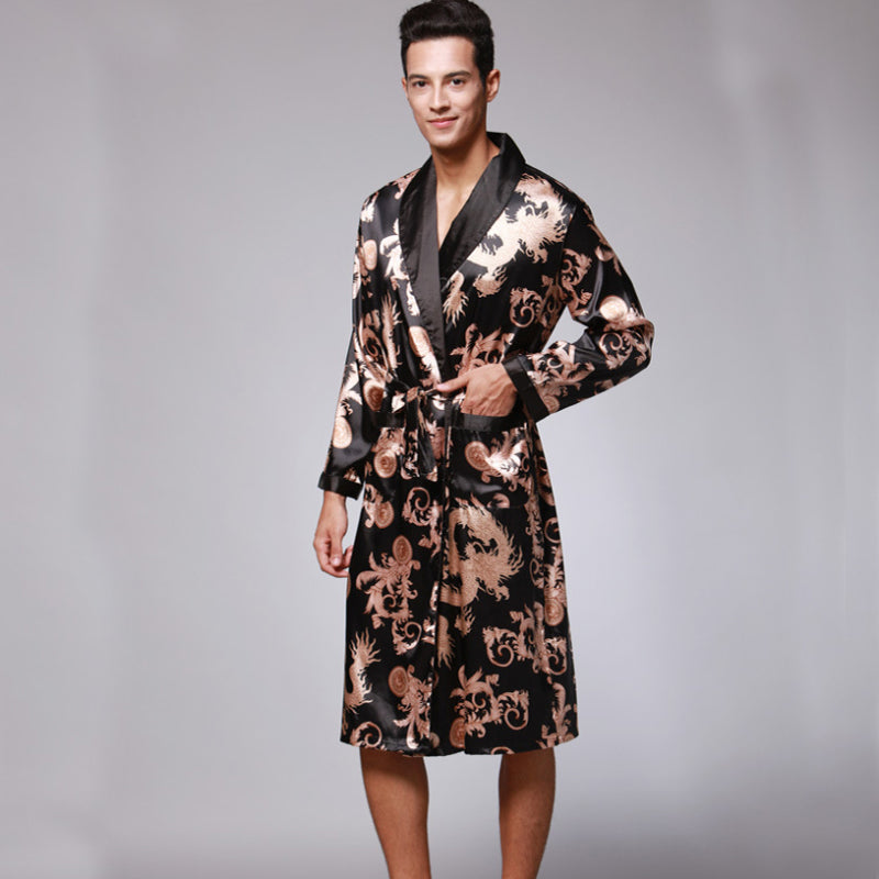 Print Pattern Men Bathrobes Kimono Robes Pajama Sets