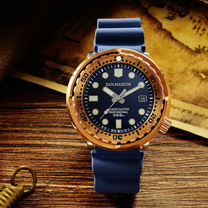Round Bronze Mechanical Sapphire Luminous with Rubber Band Men Watches