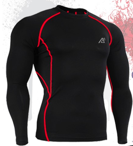 Red Line Muscle Men Compression Shirt Tight Skin Shirt Long Sleeves 3D Prints - FanFreakz