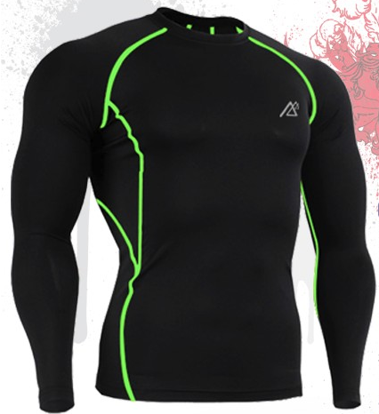 Green Line Muscle Men Compression Shirt Tight Skin Shirt Long Sleeves 3D Prints - FanFreakz