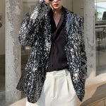 Sequin Blazer Men Casual Outerwear Silver Paillette