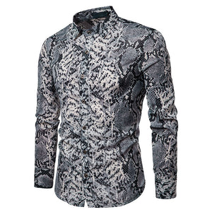 Sexy Snake Pattern Print Men Long Sleeves Shirt