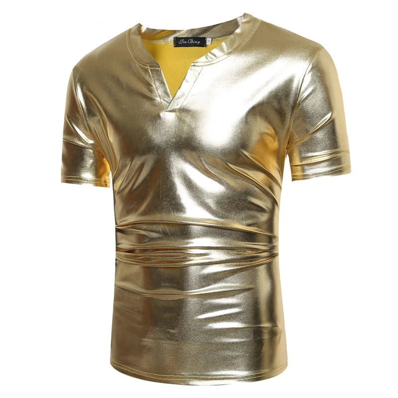 Shiny Coated Metallic V-Neck  Casual Style Men T-Shirt