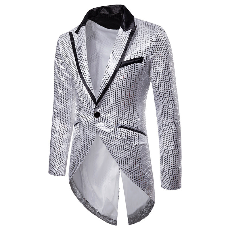 Shiny Sequin Tuxedo Stage Performer Style Men Blazer