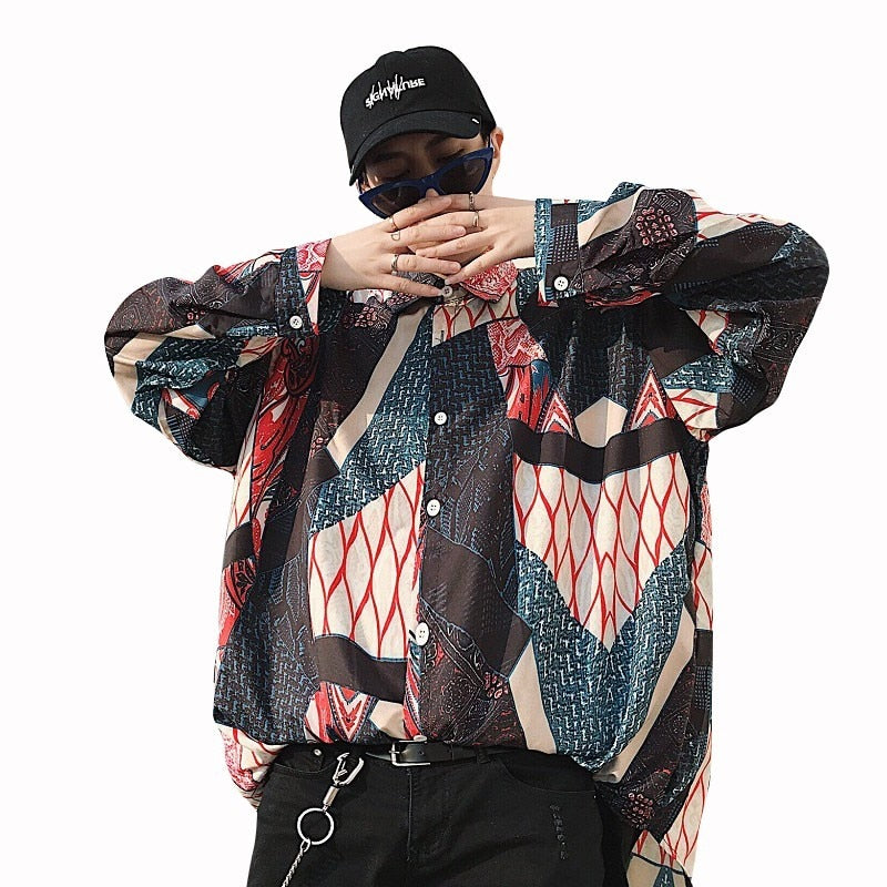 Abstract Geometric Pattern in Baggy Style Streetwear Design Men Shirt - FanFreakz