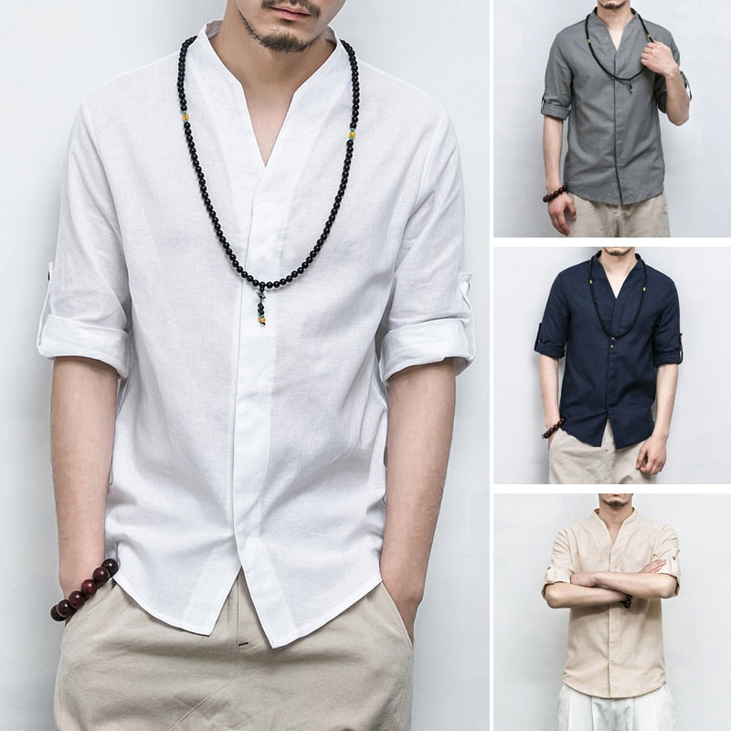 Cotton Linen Three Quarter Sleeve Solid Chinese V Neck Style Men Shirts