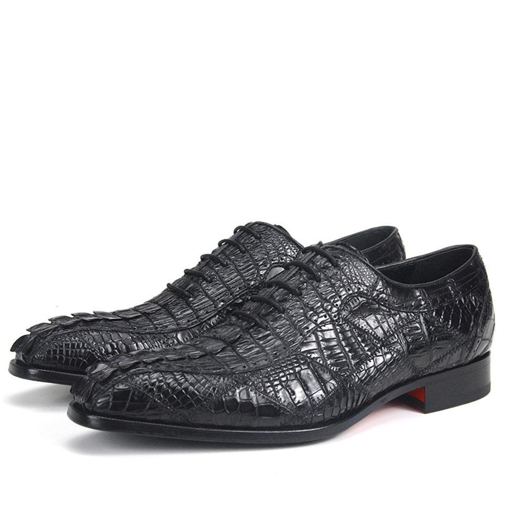 Crocodile Pattern Stitched Style Men Leather Oxford Shoes - FanFreakz