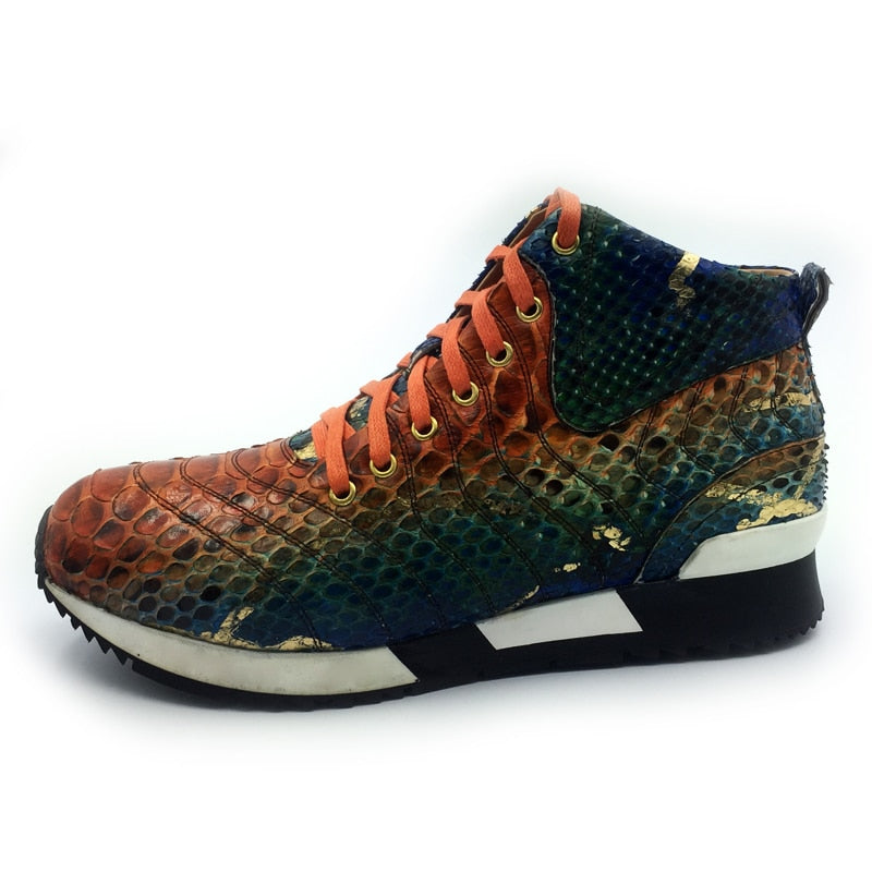 High Top Colorful Snake Pattern Full Grain Lace Up Men Sneaker