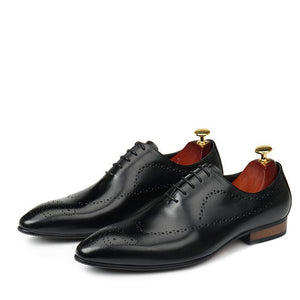 Pointed Toe Carved Perforated Men Leather Oxford Shoes