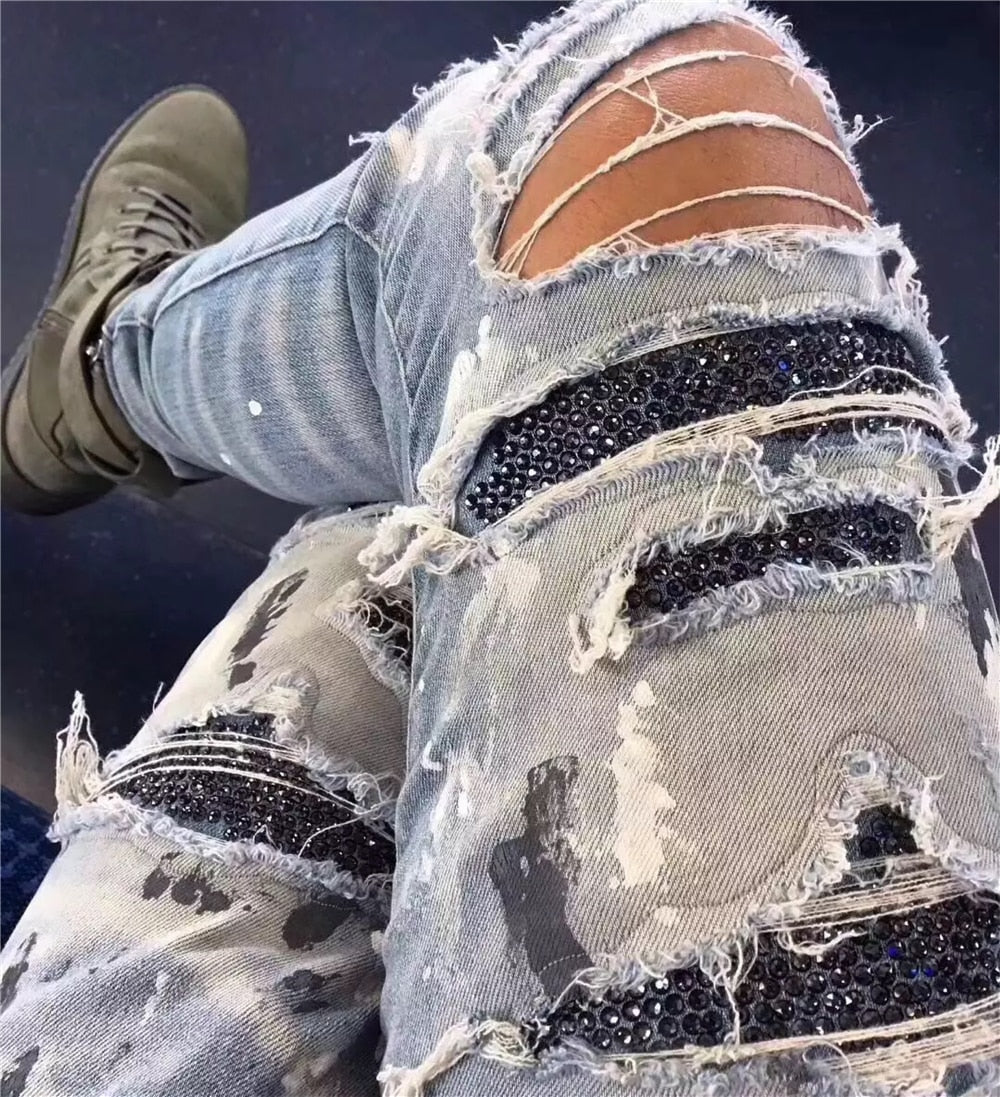Distressed Skinny Fit Sequin Patched Style Men Jeans