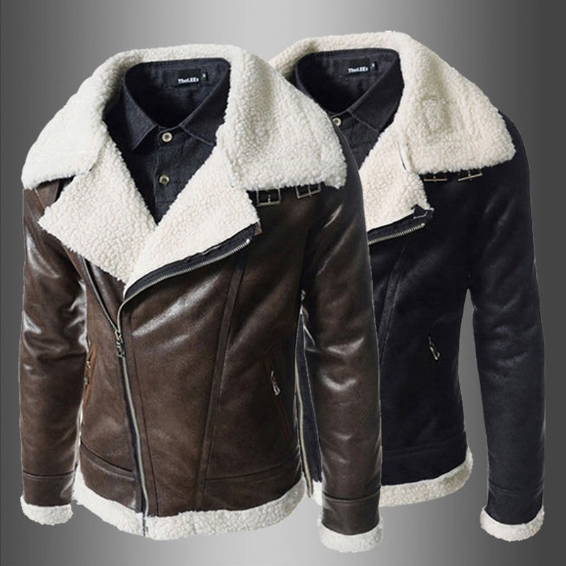 Slide Zipper Faux Lamb Sheer Biker Style Men PU Leather Jacket