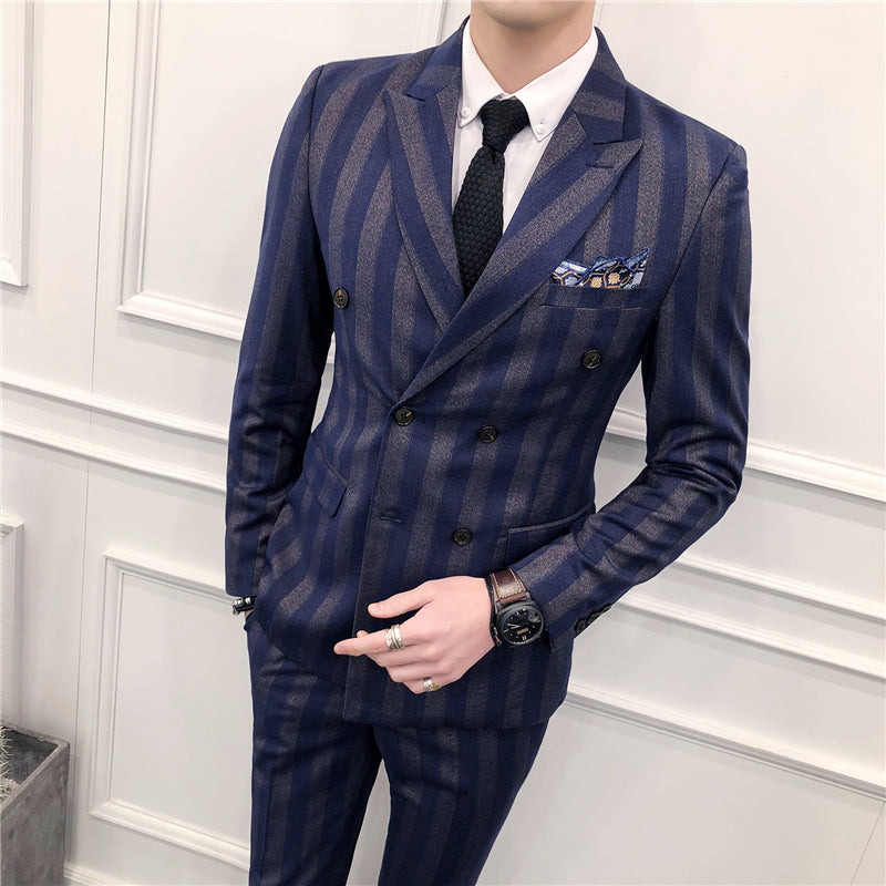 Big Chalk Stripe Double Breasted Men Slim Fit Suit - FanFreakz