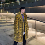 Snake Pattern Faux Fur Thick Warm Casual Men Coat