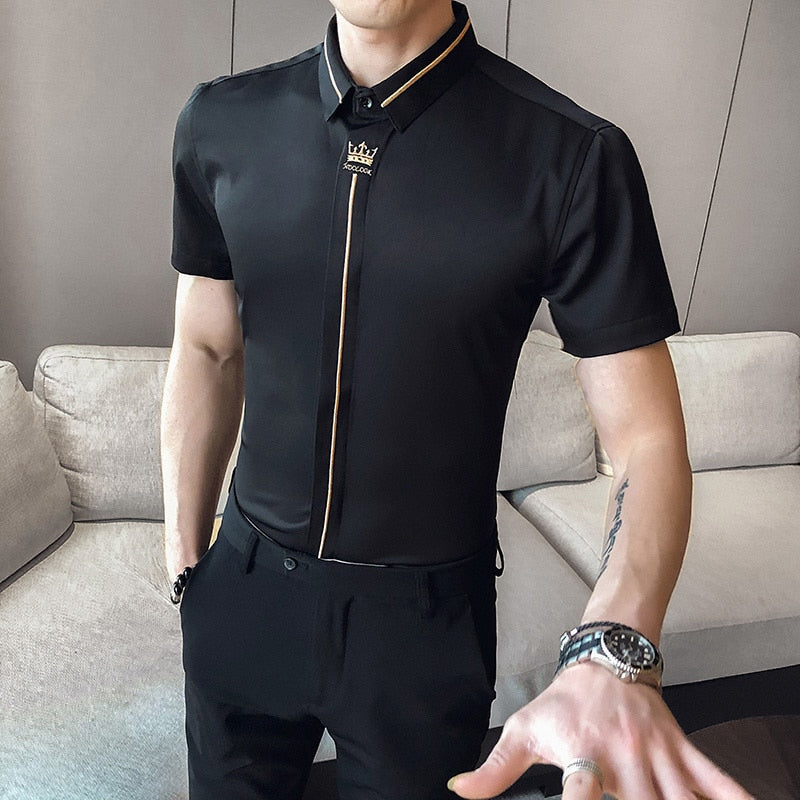 Crown Embroidered  Korean Casual  Men Slim Fit Shirt
