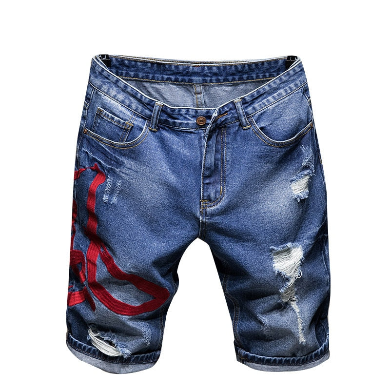 Blue Denim with Red Embroidered Ripped Summer Style Men Shorts