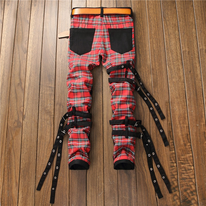 Multi Zippers and Scottish Plaid Merge Patchwork Men Slim Black Jeans