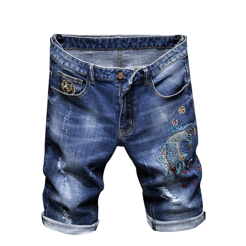 Carp Fish Embroidered Blue Denim Style Men Shorts