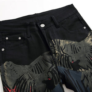 Parrot Print Front and Back Men Slim Jeans
