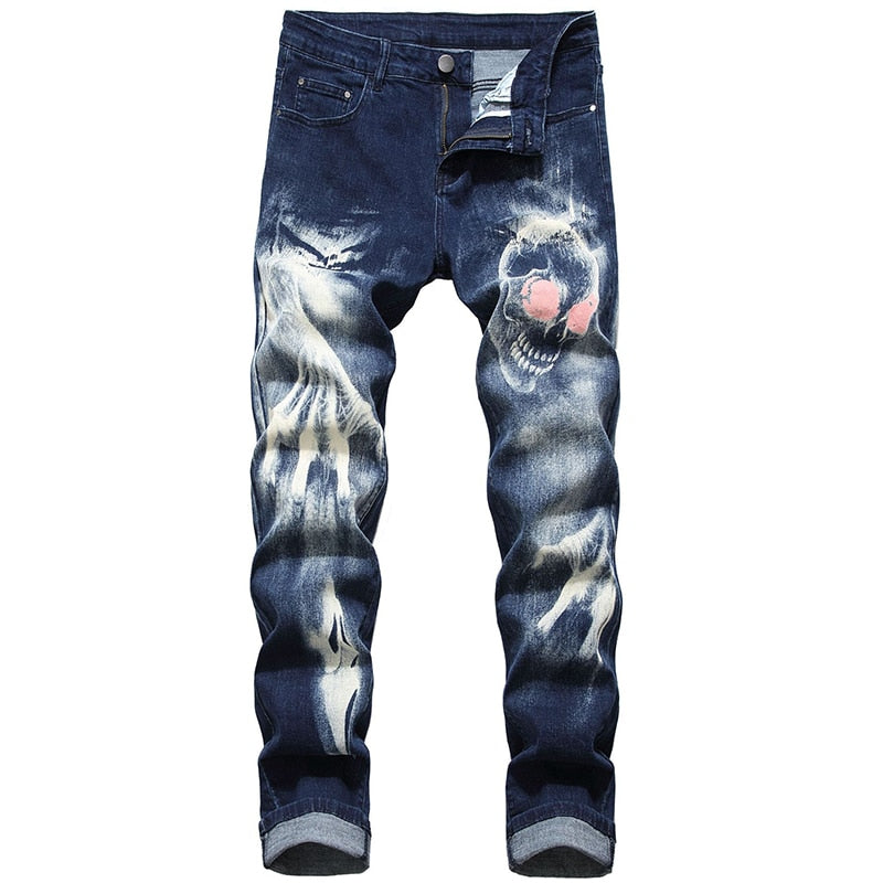 Skull Devil Printed Slim Casual Men Jeans