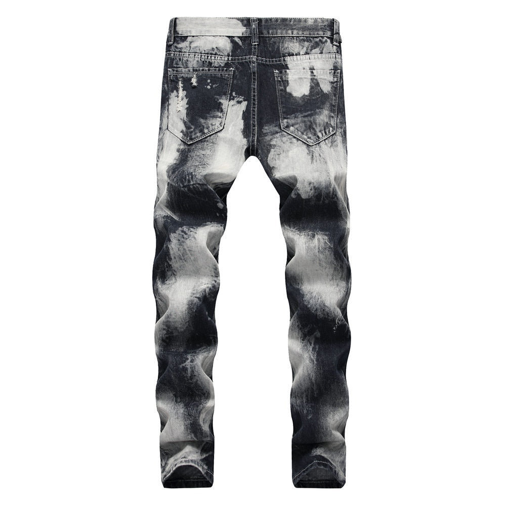 White Brushed Paint Contrast Style Men Denim Jeans